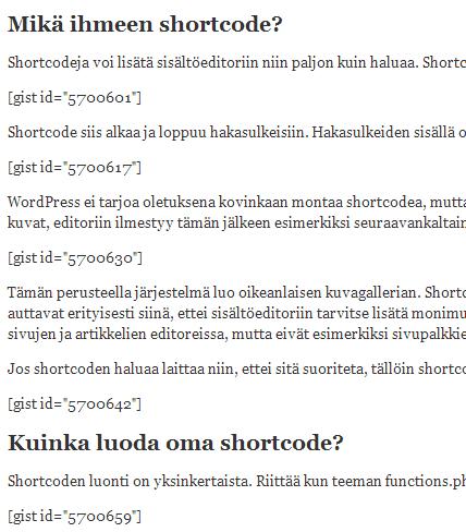 shortcode-esimerkki